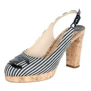 Chanel Striped Slingback Canvas & Cork Pumps 37.5